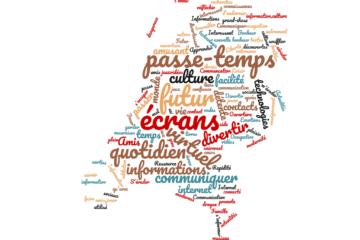Nuage de mots autour du numérique récolté par les élèves de 3 ème